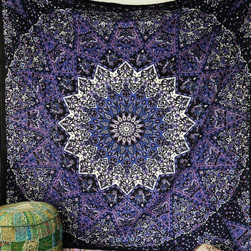 BLUE PSYCHEDELIC star mandala tapestry wall hanging hippie bohemian bedding bedspread cover boho ethnic  home decor