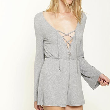 Lila Lace Up Romper - Gray