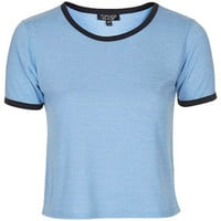 Contrast Trim Cropped Tee - Pale Blue