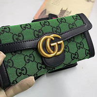 GG embroidered letters denim stitching color G clamshell wallet long clutch