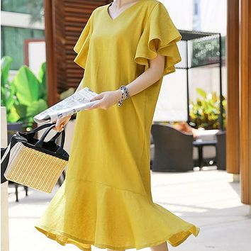 New Solid Cotton Loose Plus Size V Neck Butterfly Sleeve Fashion Trumpet / Mermaid Dress for Women