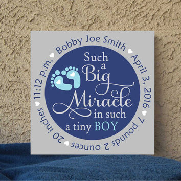 Baby Birth Announcement 12 x 12 Canvas Wall Art Hand Painted Nursery Decor Baby Gift