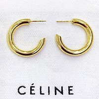 CELINE Fashion new letter round circle long earring women accessory Golden