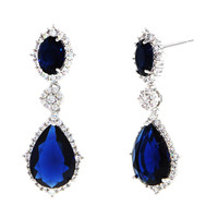 Dear Deer White Gold Plated Classic Blue Teardrop CZ Earrings