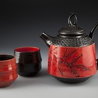 Tusk Teapot with Cups by Suzanne Crane: Ceramic Tea Set   Artful Home