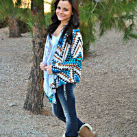 TIS THE AZTEC SEASON TEAL CARDI