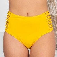 High Waisted Yellow Swimsuit Bottoms