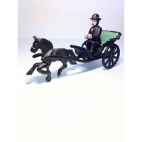 Antique Cast Iron Toy, Horse Drawn Carriage & Driver Toy, Vintage Toy Buggy, Wagon Spokes, 20th century