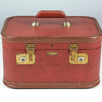 Vintage Rust Brown Cosmetic Case / JC Higgins Train Case / Vintage Luggage Suitcase with Mirror / Small Stacking Luggage / 1940s Suitcase
