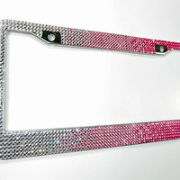Pink Rhinestone License Plate Frame, 7 Row Pink & Silver Fade Bling Plate Frame w/Screw Cap Covers, Crystal Car Accessory, Bling Car Decor