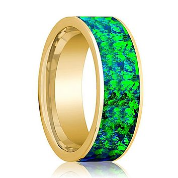 Emerald Green and Sapphire Blue Opal Inlay Men's 14k Yellow Gold Flat Wedding Band Polished
