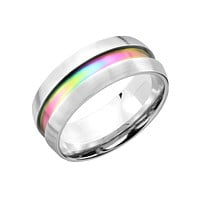 Opalescent Forever - FINAL SALE Dome Stainless Steel Band With Opalescent Rainbow Inlay