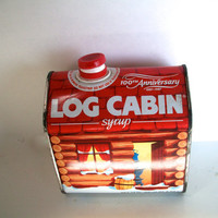 Vintage Log Cabin Syrup Tin Celebrating 100th Anniversary 1887-1987 Slightly Distressed Measures 4 And 5/8 X 5 And 1/4 Inches