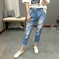 Summer Korean Women's Fashion Rinsed Denim Ripped Holes Jeans Cropped Pants [4919996932]