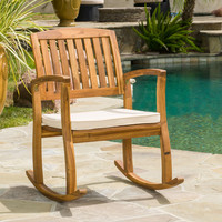 Cancun Teak Finish Acacia Rocking Chair with Cushion