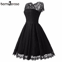 Bamskarosa Hot Sale Womens Summer Lace Dress 2018 Vintage O Neck Slim Sexy Pin up Rockabilly Vestidos Party Black Lace Dresses
