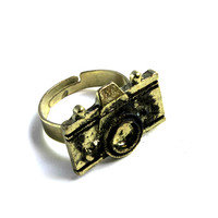 """""""Picture This"""" Dark Gold Camera Ring"""
