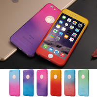 Fashion Gradient Hard Plastic Case For iPhone 6 6S i6 Plus 4.7 5.5 360 Full Coverage Cover For iPhone 7 7 Plus Phone Glass Film