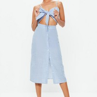 Missguided - Robe mi-longue bleue à rayures