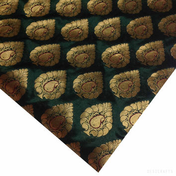 Olive and Gold Banaras Silk Fabric