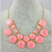 Pink Bubble Necklace Double Strands Statement by KisspatFeather