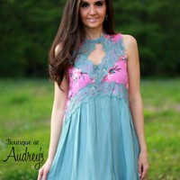 Umgee Mauve Floral Print and Gray Sleeveless Dress with Lace Detail and Keyhole Neckline