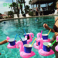New Funny Baby Inflatable Summer Toys Mini swimming pool accessories Red Flamingo Floating Drink Holder Beach Party Toy piscine