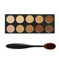 Professional 10 Color Face Concealer Foundation Palette Makeup Set & Oval Make up Brush