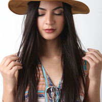 Suede Safari Fedora Wide Brim Hat