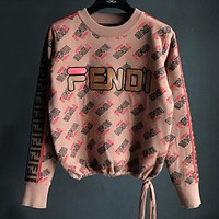 FENDI Winter Newest Popular Women Casual Embroidery Long Sleeve Round Collar Knit Thick Sweater Top Sweatshirt Coffee
