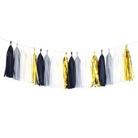 Black Mylar Gold White Gray Ivory Tassel Garland Banner Party Decoration Wedding