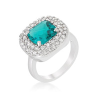 Micropave Aqua Bridal Cocktail Ring, size : 10