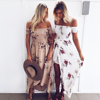 New Fashion Wrapped Floral Print Dress Summer Beach Long Dress