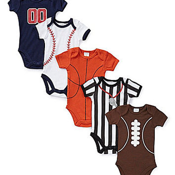 Starting Out Newborn-9 Months Sports Bodysuits 5-Pack - Multi