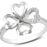 1/10 Carat Diamond Sterling Silver Four Leaf Clover Ring