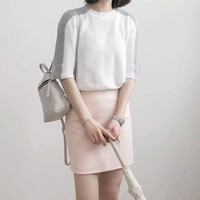 White Gray Patchwork Sleeve Loose Knitted Shirt