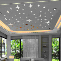 2016 New 43pcs Twinkle Stars Ceiling Decoration Crystal Reflective DIY Mirror Effect 3D Wall Stickers Home TV Background Decor