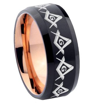 10mm Masonic Square and Compass Bevel Tungsten Rose Gold Mens Wedding Band