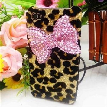 Bling Shiny 3D Black BOW Leopard Key Case Cover For iPhone 4 4S 4G 5 5S 5G Samsung Galaxy S 3 III i9300 S 4 IV i9500 (iPhone 4 4S 4G, Pink Bow)