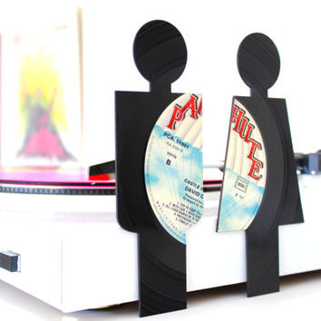 Lasercut Bathroom Signs from Vinyl Records - Parachute Records set