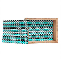Madart Inc. Turquoise Black White Chevron Jewelry Box