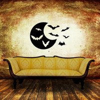 Moon with Bats Halloween Removable Vinyl Wall Decal 22460