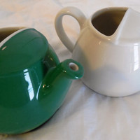 """Hall Teapots 3 1/2"""", 2 Restaurantware Teapots by Hall, Vintage Small Teapots, 1 Green-1960s, 1 Ivory-1980s Signed"""