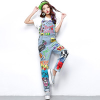 Melinda style 2016 Sexy Graffiti Printed  Rompers Women Jumpsuit Drawing Loose Denim Overalls for Women 1546