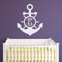 Anchor Initial Wall Decal Personalized Monogram Stickers- Nautical Nursery Monogram Wall Decal- Monogram Wall Art Kids Bedroom Decor M073