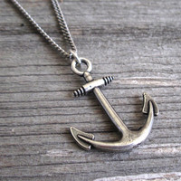 Men's Necklace - Blackend Silver Plated Anchor Pendant - Mens Jewelry - Anchor Jewelry - Gift For Him