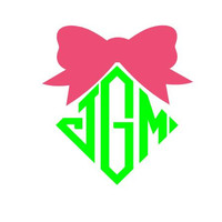 "Diamond Monogram and Bow Cute Car Decal 5"" Sticker"