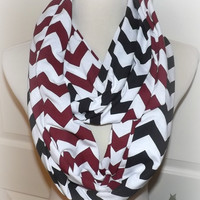 NEW!! Maroon and Black LONG Chevron 2 Pair Team Game Day Alabama Roll Tide USC Gamecocks Scarves Jersey Knit Infinity Scarves