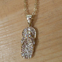 Gold Rhinestone Flip Flop Necklace   Candy's Cottage