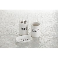 "Rae Dunn Stem Print ""Clean"", ""Rinse"", and ""Brush"" Bathroom Set"